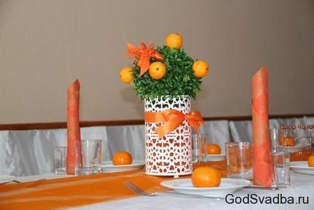 сервировка стола на мандариновую свадьбу